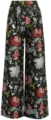 Adam Lippes Floral-jacquard Wide-leg Trousers - Black Multi