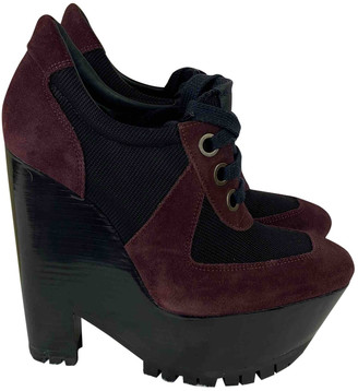 Burberry Burgundy Suede Mules & Clogs