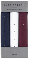 John Lewis Ditsy Cotton Handkerchiefs, Pack Of 3, Navy/white/maroon