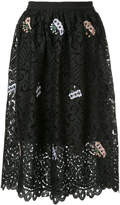 Markus Lupfer floral embroidered lace skirt