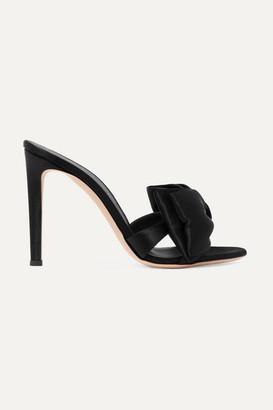 Giuseppe Zanotti Bow-embellished Satin Mules - Black