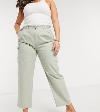 ASOS DESIGN Curve pleat front chino with cargo pockets in sage