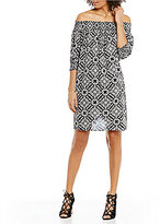 Chelsea & Theodore Printed Off-the-Shoulder 3/4 Sleeve Shift Dress
