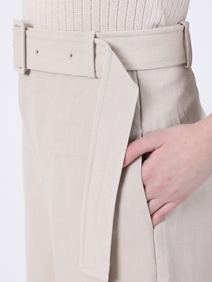 Co Taupe High-waisted Belted Pants