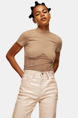 Topshop Womens Sand Mesh Panel Funnel Top - Sand