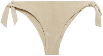 Miguelina Faux Suede Low-rise Bikini Briefs
