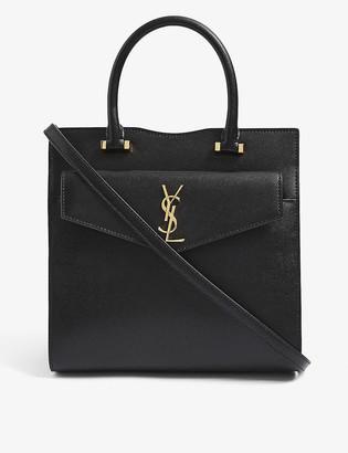 Saint Laurent Uptown small monogram leather tote bag