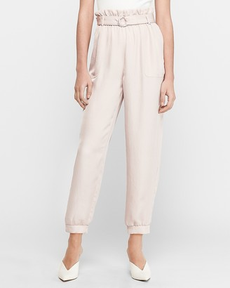 Express High Waisted Belted Utility Twill Jogger Pant