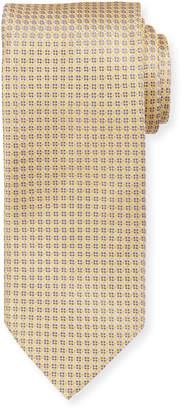 Eton Neat Pattern Silk Tie, Yellow