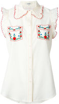Manoush embroidered trim shirt - women - Silk/Cotton/Polyester - 36