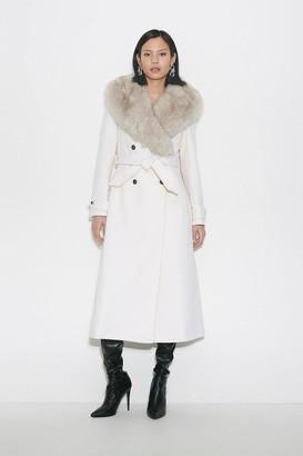 Karen Millen Black Label Faux Fur Collar Wool Belted Coat