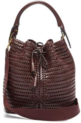 Anya Hindmarch The Neeson Whipstitched Leather Bucket Bag - Womens - Burgundy