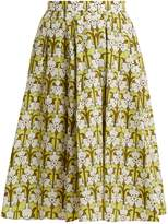 Prada Iris-print cotton-poplin skirt