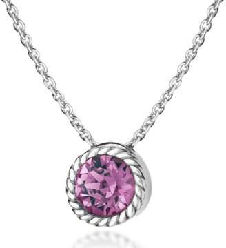 Swarovski Tuscany Silver Women's Sterling Silver Purple Crystal February Birthstone Necklace of Length 46 cm/18 Inch
