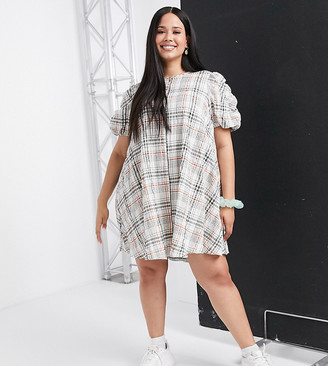 ASOS DESIGN Curve cotton trapeze mini smock dress with ruched sleeves in check