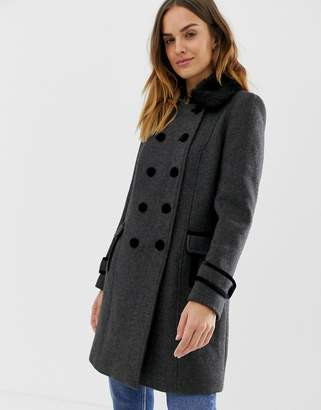Naf Naf double button military coat with faux fur collar-Grey