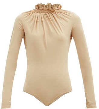 MM6 MAISON MARGIELA Ruffled-neck Jersey Bodysuit - Light Beige