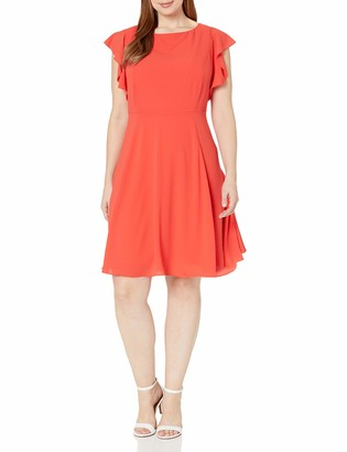 Julia Jordan Women's Plus Size One Piece Flutter Sleeve Solid Fit and Flare Dress