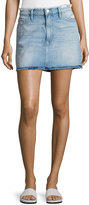 Frame Le Mini Frayed Waist A-Line Denim Skirt, Blue