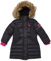 U.S. Polo Assn. Black & Fuchsia Hooded Long Puffer Jacket - Toddler & Girls