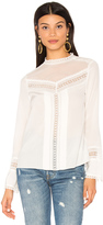 Rebecca Taylor Long Sleeve Lace Silk Top