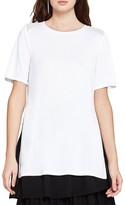 BCBGeneration Sheer-Inset Short-Sleeve Tunic Top
