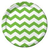 Fresh Lime Green Chevron Stripes Disposable Plates - 8 Count