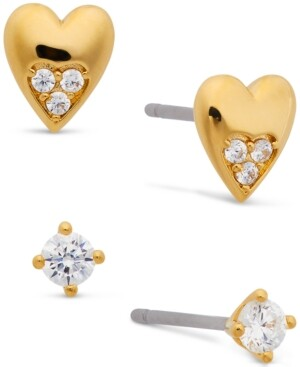 AVA NADRI 18k Gold-Plated 2-Pc. Set Cubic Zirconia & Heart Stud Earrings