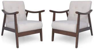 Mid-Century MODERN GDF Studio Aurora Accent Chairs, Beige/Brown, Set o