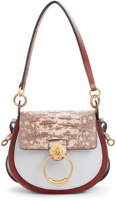 Chloé Small Tess Tricolor Embossed Leather Shoulder Bag