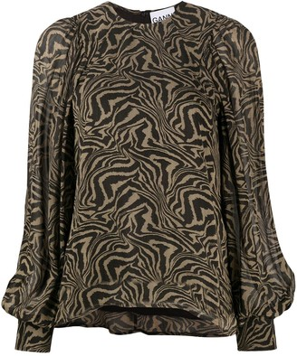 Ganni Abstract Print Blouse