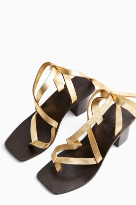 Topshop VANITY Gold Leather Wrap Block Sandals