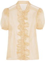 Ruffle-front organza blouse