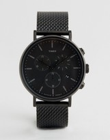 Timex Fairfield Chronograph 41mm Mesh Watch In Black IP