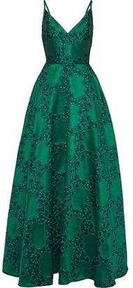 ML Monique Lhuillier Embroidered Duchesse-satin Gown