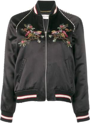 Saint Laurent flower embroidered bomber jacket