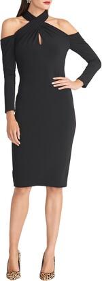 Rachel Roy Simone Long Sleeve Twist Neck Cold Shoulder Jersey Dress