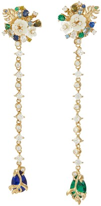 Mother of Pearl 'Emerald Paradise' diamond gemstone earrings