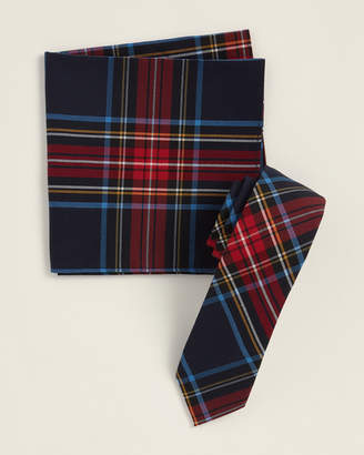 Original Penguin Two-Piece Oasis Plaid Navy Pattern Tie & Pocket Square Set