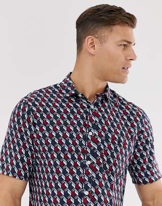 Selected short sleeve printed shirt in viscose-Red