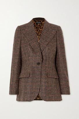 Dolce & Gabbana Houndstooth Tweed Blazer - Brown