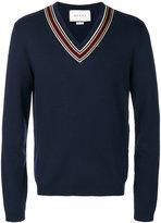 Gucci striped trim v-neck jumper - men - Cotton/Viscose/Wool - S