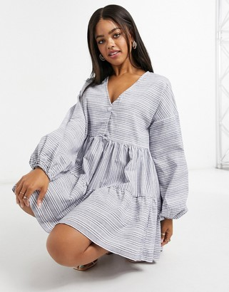 In The Style x Lorna Luxe stripe linen baloon sleeve smock dress in multi
