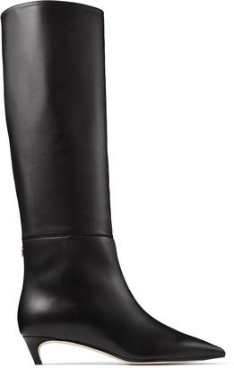 Jimmy Choo MAXIMA 35 Black Calf Leather Knee High Boots