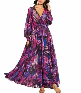 changchang Women Boho Maxi Dress Tropical Floral Sundress Long Sleeve Loose Dresses Elegant Sexy Party Dress Beach Cover Up (Green XL)