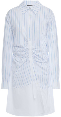 McQ Sateen-paneled Ruched Striped Cotton-poplin Mini Shirt Dress