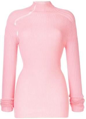 Victoria Beckham ladder detail ribbed sweater