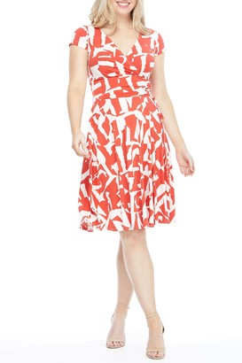 Maggy London Double V Cap Sleeve Wrap Fit & Flare Dress (Petite)