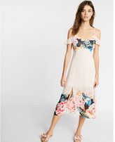 Express Floral Trim Cold Shoulder Midi Dress