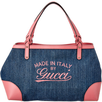 Gucci Denim & Pink Leather Tote